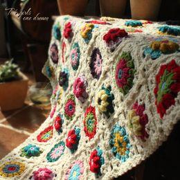Handmade Crochet Baby Blankets Australia - DIY Crochet Baby Blanket Cushion Colourful Stereo Daisy Mats Handmade Tablecloth Fashion Scarf Carpet For Wedding Table Runner D19011201