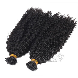 natural kinky human hair Canada - VMAE Brazilian Natural Black 2g Strand 100g Pre Bonded Kinky Curly Keratin Stick Single Double Drawn I Tip Human Hair Extension
