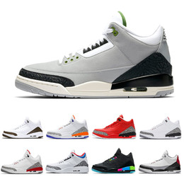 Ingrosso Nike Air Jordan Retro Shoes 3 3s Mens Scarpe da pallacanestro Mocha Charity Game Pure White Infrared Fly Black III Scarpe sportive Retro Designer Sneakers