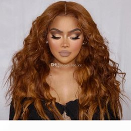 blonde body wave full lace UK - Pre Plucked Silk Top Lace Frontal Wigs 30# Honey Blonde Brazilian Loose Wave Full Lace Human Hair Wigs