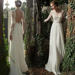 Berta Black Summer Dresses Australia - 2019 Berta Illusion Long Sleeve Beach Lace Wedding Dresses Summer Chiffon Backless Floor Length Garden Bridal Gowns Wedding Dress