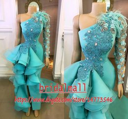 Discount ruffled hi low prom dresses Aqua Blue Beading Pearls High Low Evening Dresses Ruffles Peplum Formal Party Gowns Hand Made Flowers Lace Appliqued African Long Prom Dress
