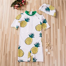 sun protection suits 2019 - Swimwear Baby Girls Boys Swimsuit Kids Children Pineapples Bathing Suit Sun Protection Outfit Toddler Swimming Suit +Cap