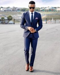 $enCountryForm.capitalKeyWord NZ - Two-Button Side Slit Classic Fit Notch Lapel Groom Tuxedos Groomsman Suit Blue Wedding Party Suit (Jacket+Pants+Tie+Girdle) YY018