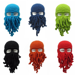 $enCountryForm.capitalKeyWord Australia - Novelty Tentacle Octopus Hat Unisex Winter Warm Knitted Woolen Yarn Face Mask Cap Ski Funny Squid Tentacles Beanie Men Women Hat