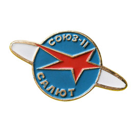 pin programming NZ - Soviet pin salute Soyuz 11 space programme badge USSR vintage red star brooch cosmos jewelry