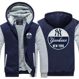 China 2019 winter hoody yankee new york Men women Thicken autumn Hoodies clothes sweatshirts Zipper jacket fleece hoodie streetwear cheap jacket new york suppliers