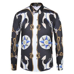 double shirt designs Australia - Men's Design Dress Shirts Fashion Gold Floral Harajuku Print Shirt Men Long Sleeve Medusa Shirts Slim Fit Casual Shirts