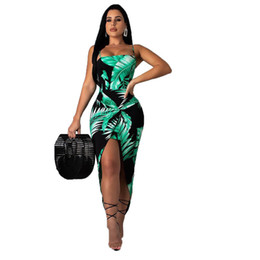 Leaves For Dresses NZ - Leaves Print Sexy Bodycon Dress For Women Spaghetti Strap Backless Club Party Dress Summer Front High Split Sleeveless Sundress NB-1468