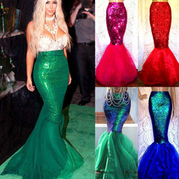 costume cosplay skirt red UK - Womens Adult Mermaid Tail Full Skirt Party Maxi Fancy Dress Cosplay Costume New