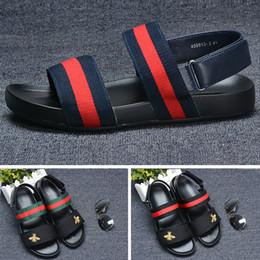 2f298637c Bees ACE Designer slipper Gear bottoms mens striped sandals black white men  causal Non-slip summer huaraches slippers flip flops 40-44