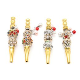 animal shaped pipes NZ - Handmade metal Hookah Mouthpiece Mouth Tips Pendant Arab Shisha Animal Skull Shaped Filter Inlaid Jewelry Diamond Smoking pipe Tool