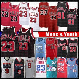 Chicago Bulls 23 Michael Basketball Jersey MJ Scottie Pippen 33 Dennis Rodman 91 Tar Heel Ncaa North Carolina State University Youth Men en Solde