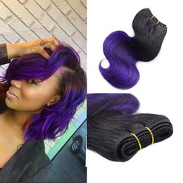 hair weaving sewing machine Australia - Sew in Ombre Hair Extensions Two Tone 1B Purple Body Wave Virgin Brazilian Wavy Human Hair Weave Weft Purple Bob Wave Hair Products