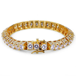 bcfa618d6e48 18K oro y oro blanco plateado Hiphop CZ Zirconia diseñador tenis pulsera  princesa diamante cadenas de muñeca para hombre Hip Hop Rapper regalo de la  joyería