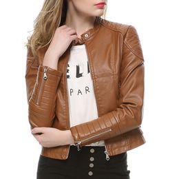 $enCountryForm.capitalKeyWord NZ - 2019 Fashion Women Elegant Zipper Faux Leather Biker Jacket in Brown Black Slim Ladies Coat Casual Motorcycle Leather Coat
