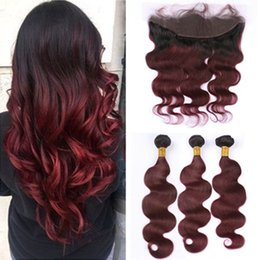 red wine ombre human hair weave NZ - #1B 99J Wine Red Two Tone Ombre Virgin Peruvian Human Hair Weaves 3Bundles With Full Frontal 13x4 Burgundy Ombre Lace Closure Body Wave