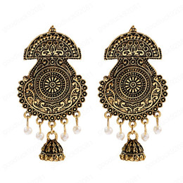 wholesale indian bells UK - Retro Big Indian Gold Earring fashion Imitation Pearls Bell Tassel Earrings Orecchini