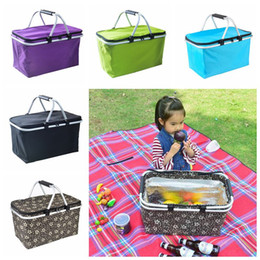 $enCountryForm.capitalKeyWord Australia - Outdoor Picnic Meal Bag Folding Oxford Cloth Ice Pack Family Outdoor Picnic Handbags Takeaway Container Storage Bags 5 Colors CCA11779 6pcs