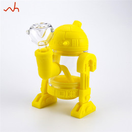 Glass Stem 14mm Pipe UK - SILICLAB design R2D2 robot silicone bong oil burner pipe removed down stem 14mm glass bowl hookah pipes shisha bongs for smoking wholesalers