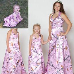 LittLe fLower girL dress purpLe online shopping - Pink Camo Flower Girl s Dresses for Wedding Teenager Little Girl Pageant Halter Formal Wear Long Formal Gowns
