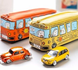 $enCountryForm.capitalKeyWord NZ - Creative Cartoon School Bus Pencil case Large Capacity Cute Bag Box Atationery Pouch Kids Gift Office school Supplies 04972
