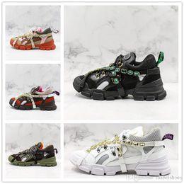 5e664dc9d05 Green diamond shoes online shopping - Luxury FW Flashtrek trainers Fashion  Brand Designer Diamond Shiny Black