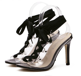 transparent women gown Australia - Hot Sale-Rome style ankle wrap transparent sexy high heels sandals black prom gown dress shoes size 35 to 40