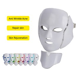 light beauty NZ - LED Light Therapy Facial Neck Mask 7 Colors Ance Treatment Face Whitening Skin Rejuvenation Beauty Photon Therapy LED Mask Hot