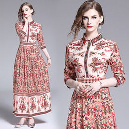 $enCountryForm.capitalKeyWord Australia - 2019 Runway Luxury Fashion Printed Womens Ladies Casual Long Sleeve Button Front Lapel Neck A-Line Party Robe Maxi Pleated Vestidos Dresses