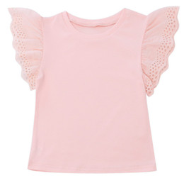 flower lace tee 2019 - Kids T-shirt girls lace hollow flowers embroidery falbala fly sleeve Tees children princess tops 2019 summer girl bottom