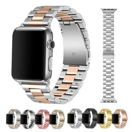 Discount black metal watch bands - smart watch strap 44mm series 2 metal iwatch bands 40mm stainless steel for iphone 42mm 38mm 2 1