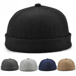 7a4161a558e Spring Men Hat Trend Retro Flawless Cuffed Landlord Street Melon Hat Solid  Color Brimless Hip Hop Cap Solid Color Beanie