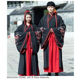 Chinese Embroidered Clothes NZ - Sinicism Store Chinese National Costume Men Woman Hanfu 2019 Embroidered 3 Piece Set Tang Dress Folk Dance Ancient Clothing