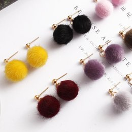 $enCountryForm.capitalKeyWord UK - 2017 new jewelry simple autumn and winter hairy velvet beads ball short paragraph earrings cute candy earrings