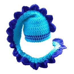 $enCountryForm.capitalKeyWord Australia - Novelty Handmade Knit Crochet Blue Dinosaur Hat,Baby Boy Girl Long Tail Monster Animal Hat,Infant Halloween Costume,Newborn Photo Prop