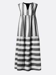 Vintage Design Clothes Australia - 2019 new design plus size women's dress striped printed V-neck sleeveless loose type summer maxi dress streetwear women clothes long skirts