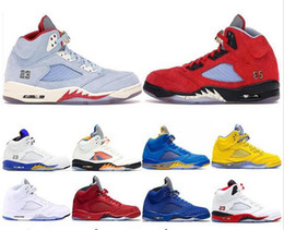 Ice cream shoes men online shopping - 2019 mens basketball shoes New Trophy Room x s Ice Blue JSP Red Camo Seme Black Olympic Gold Blue Suede Designer Sneakers