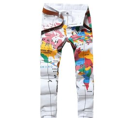 map pencils Australia - European and American style Men Fashion Slim Fit Map Of The World 3D Printed Jeans Pattern Print Skinny White Denim Pants 5618#