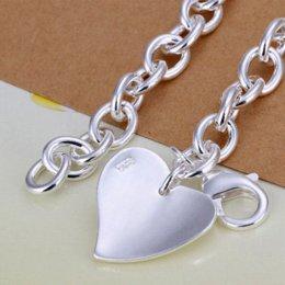 $enCountryForm.capitalKeyWord Australia - fine summer style 925 sterling silver bracelet 925-sterling-silver jewelry 2 heart chain bracelets for women men SB279