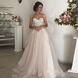 $enCountryForm.capitalKeyWord UK - Modest Blush Pink Vintage Lace Wedding Dresses A Line Summer Beach Garden Wedding Bridal Gowns with Lace Appliqued Gowns For Wedding
