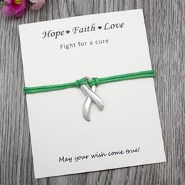 Custom-Hope Awareness Ribbon Charm Grün Lila Gelb Armbänder für Frauen Mädchen Geschenke Justierbare Armbänder Schmuck Mit Karte