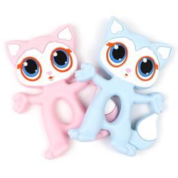 Big Eye Cat Fox Teether Silicone dentizione giocattoli per bambino BPA libero simpatico cartone animato animale da masticare ciondolo fascino infantile ciuccio