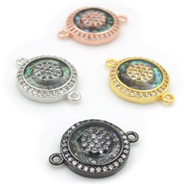 Micro Pave Connectors Australia - 18*14*3mm Micro Pave Clear CZ Gridding Abalone Shell Round Connectors Fit For Making Bracelets Or Necklaces Jewelry
