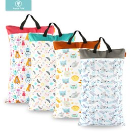 waterproof wet bags cloth diapers Canada - Happy Flute 1 Pcs Large Hanging Wet dry Pail Bag For Cloth Diaper,inserts,nappy, Laundry With Two Zippered Waterproof,reusable MX190727