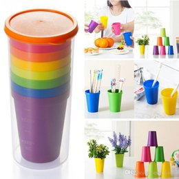 plastic picnic sets UK - Travel Portable Rainbow Cup Plastic Rainbow Color Portable Picnic Tourism Teacup Coffee Water Cup 8pcs set