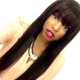 european glueless human hair wig Australia - Lace Front Wigs 180 Density With Bang Virgin Peruvian Lacefront Wig With Bangs Glueless Full Lace Human Hair Wigs Cheap For Black Women