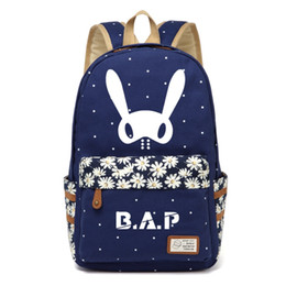 flowered shoulder bag 2019 - WISHOT KPOP B.A.P Best Absolute Perfect BAP Backpack flowers shoulder Travel Bag for teenagers girls women Canvas dot ba