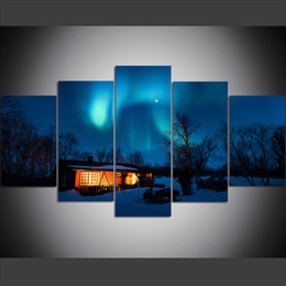 Large Size Art Wall Canvas UK - 5 Piece Large Size Canvas Wall Art Pictures Creative Cabin Under Aurora Art Print Oil Painting for Living Room Home Decor