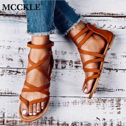 a0d623a03 New Summer Women Gladiator Sandals Cross Tied Cover Heel Zip Female Buckle Flat  Fashion Retro Casual Beach Shoes Ladies Footwear